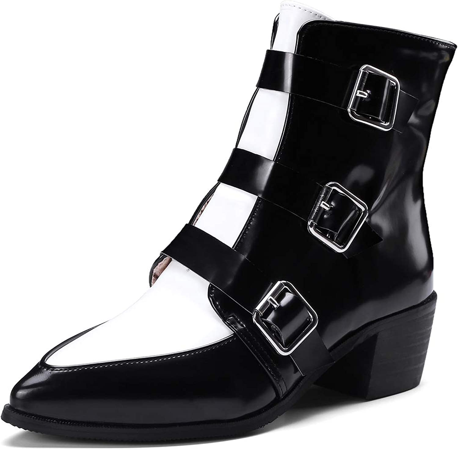 Women's Booties, Retro Thick Heel Small Leather shoes Ankle Boots Martin Boots Low-Heel Ladies Belt Buckle Fashion Boots (color   B, Size   35)