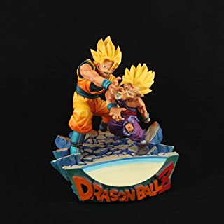 HappyL Dragon Ball Anime Statue Super Saiyan Goku Gohan Father and Son Shockwave Toy Model PVC Exquisite Anime Decoration Collectibles -7.1in Toy Statue