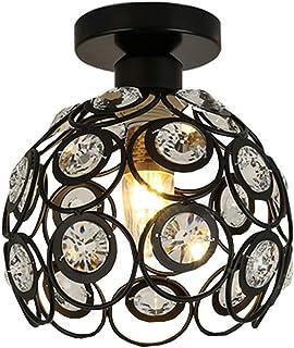Plafonnier Luminaire Moderne Industriel Cristal Suspension Lustre Abat-Jour en Métal Lampe de plafond E27 pour Salon Chamb...