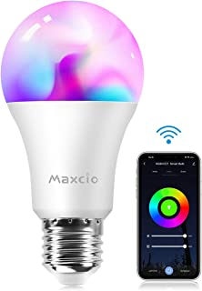 Bombilla WiFi, Maxcio Bombilla Inteligente WiFi de Multicolor con Intensidad Regulable, 8 Modos de Escena con Temporizador, 9W-E27, Compatible con Alexa/Google Home, para Fiesta y Reunión Familiar