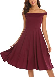 Women's Sexy Off The Shoulder Sleeveless Casual Cocktail Skater Party Evening Dress