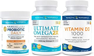 Nordic Naturals Starter Pack - Vitamin D3 1000 IU, Ultimate Omega 2X 2150mg Fish Oil Omega 3, Probiotic Daily 12 Billion CFU