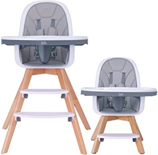 HAN-MM Baby High Chair with Removable Gray Tray, Wooden High Chair, Adjustable Legs, Harness, Feeding Baby High Chairs for Baby/Infants/Toddlers