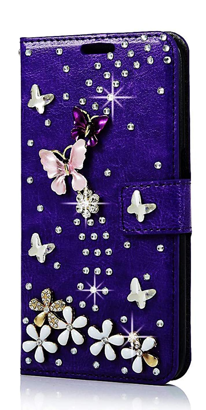 STENES Galaxy Note 9 Case - Stylish - 3D Handmade Bling Crystal S-Link Butterfly Floral Magnetic Wallet Credit Card Slots Fold Stand Leather Cover for Samsung Galaxy Note 9 - Purple