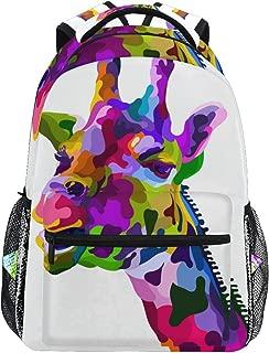 Tarity Colorful Giraffe School Backpack Small Travel Bag Students Bookbags Teenagers Casual Daypacks Stylish Print Durable Backpack Laptop Computer Bag For Kids Boys Girls Women