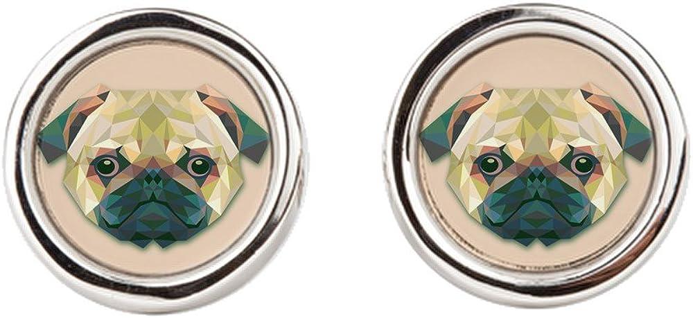 Cufflinks (Round) Triangle Pug Dog