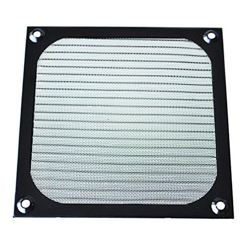 TOOGOO(R) 12cm x 12cm PC ventilador del refrigerador de aluminio a prueba de polvo Filtro reticular Negro