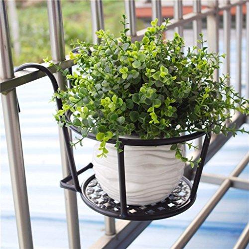 Support de fleur européenne balcon balustrade de balustrade en fer forgé araignée orchidée nain vert suspendus support de pot de fleur étagère de garde-corps de seuil de fenêtre suspendue trois pièces ( Color : Black )