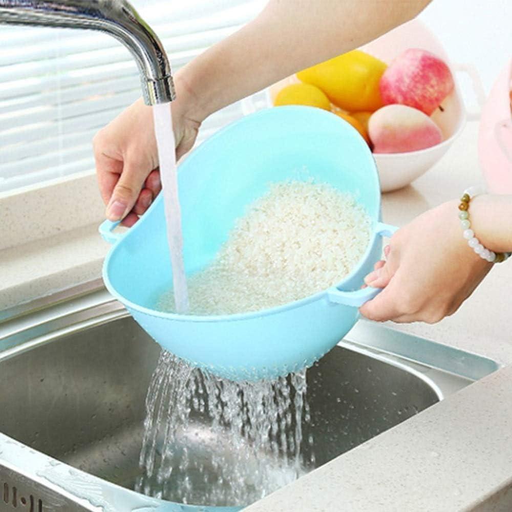 Caradise Reisreiniger Sieb Küche Lebensmittel Obst Gemüse Reinigung Container Korb Sieb Seitensieb Sieb mit Doppelgriffen blau Blau