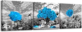 BYXART Blue Flower Wall Decor Art Black and White Background Floral Painting Pictures Framed Posters for Living Room Bedroom Bathroom Wall Decoration Stretched Easy to Hang 12x12inx3