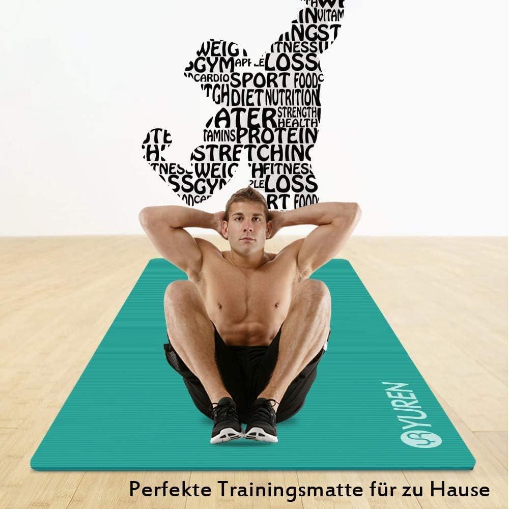 YUREN Esterilla Yoga Antideslizante Alfombrilla de Yoga Esterilla Pilates Esterilla Deporte 185cm x 90cm 10mm NBR Hogar Abdominales Gimnasio Colchoneta