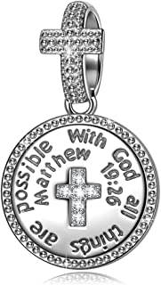 Christmas Charms Gifts 925 Sterling Silver Charms With God All Things Are Possible Cross Religious Dangle Charms for Pandora Bracelets