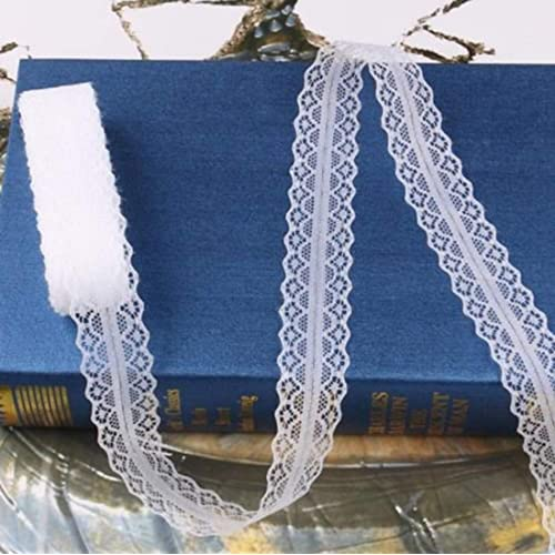 AK-Trading 1  Wide x 10 Yards Floral Pattern Lace Ribbon for Decorating, Floral Designing and Crafts - White  (LS13)