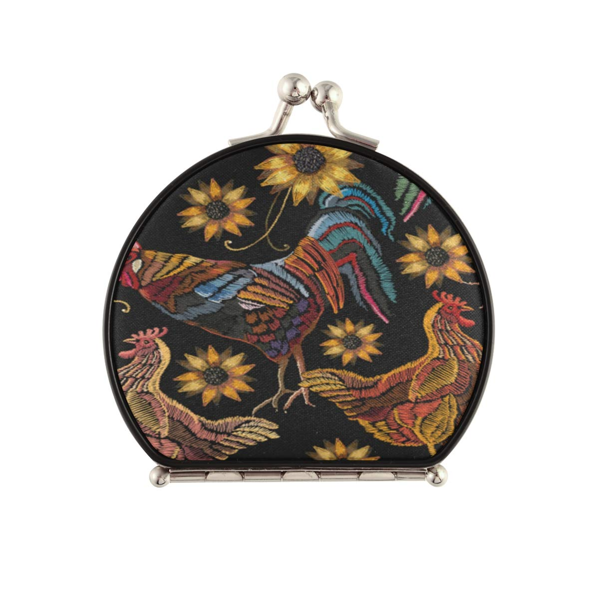 Magnifying Compact Cosmetic Mirror Rooster Chicken Time sale Sale Special Price Su Embroidery