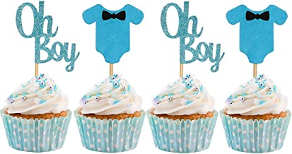 Baby Shower Cupcake Toppers for Boy, Blue Baby Jumpsuits Cake Cupcake Toppers Picks for Boy Birthday Party Decoration Supp...