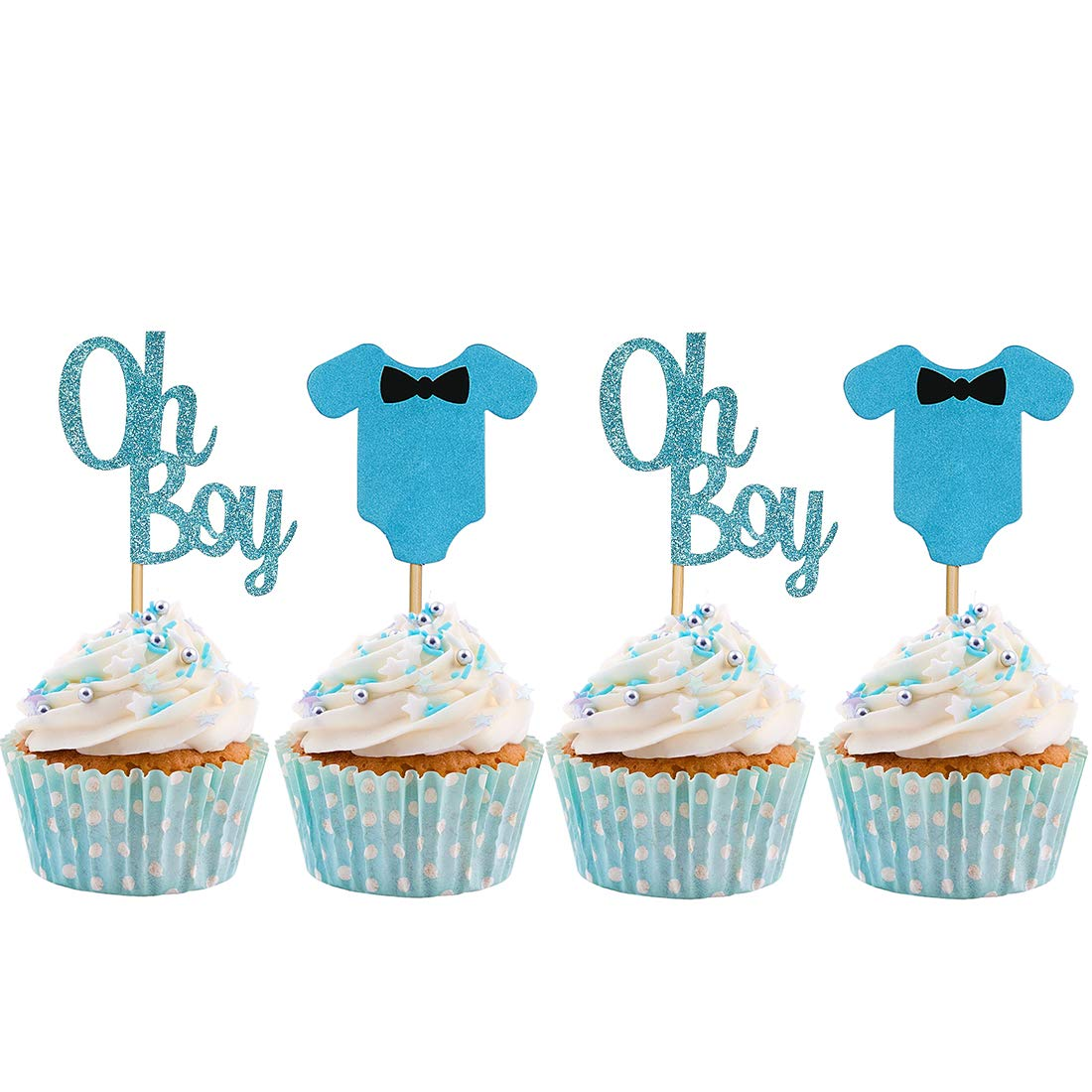Baby Shower Cupcake Toppers for Cake Boy Complete Free Ranking TOP15 Shipping Cu Blue Jumpsuits