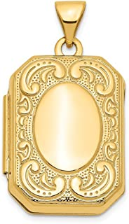 14k Yellow Gold Rectangle Photo Pendant Charm Locket Chain Necklace That Holds Pictures Shaped Fine Jewelry Gifts For Women For Her