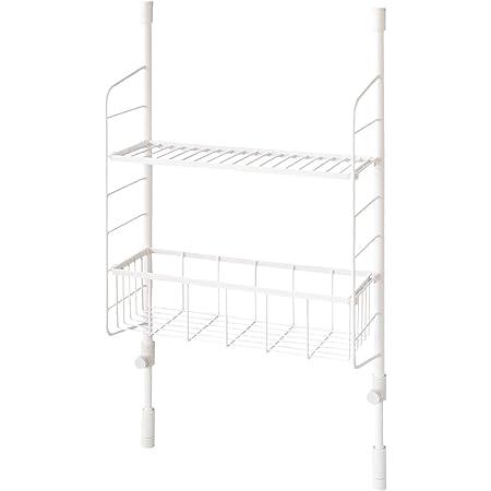 平安伸銅工業 SPLUCE 突っ張りキッチンラック スリムポールラック メッシュセットM ホワイト 高さ70~105cm 幅39.5cm SPL-4