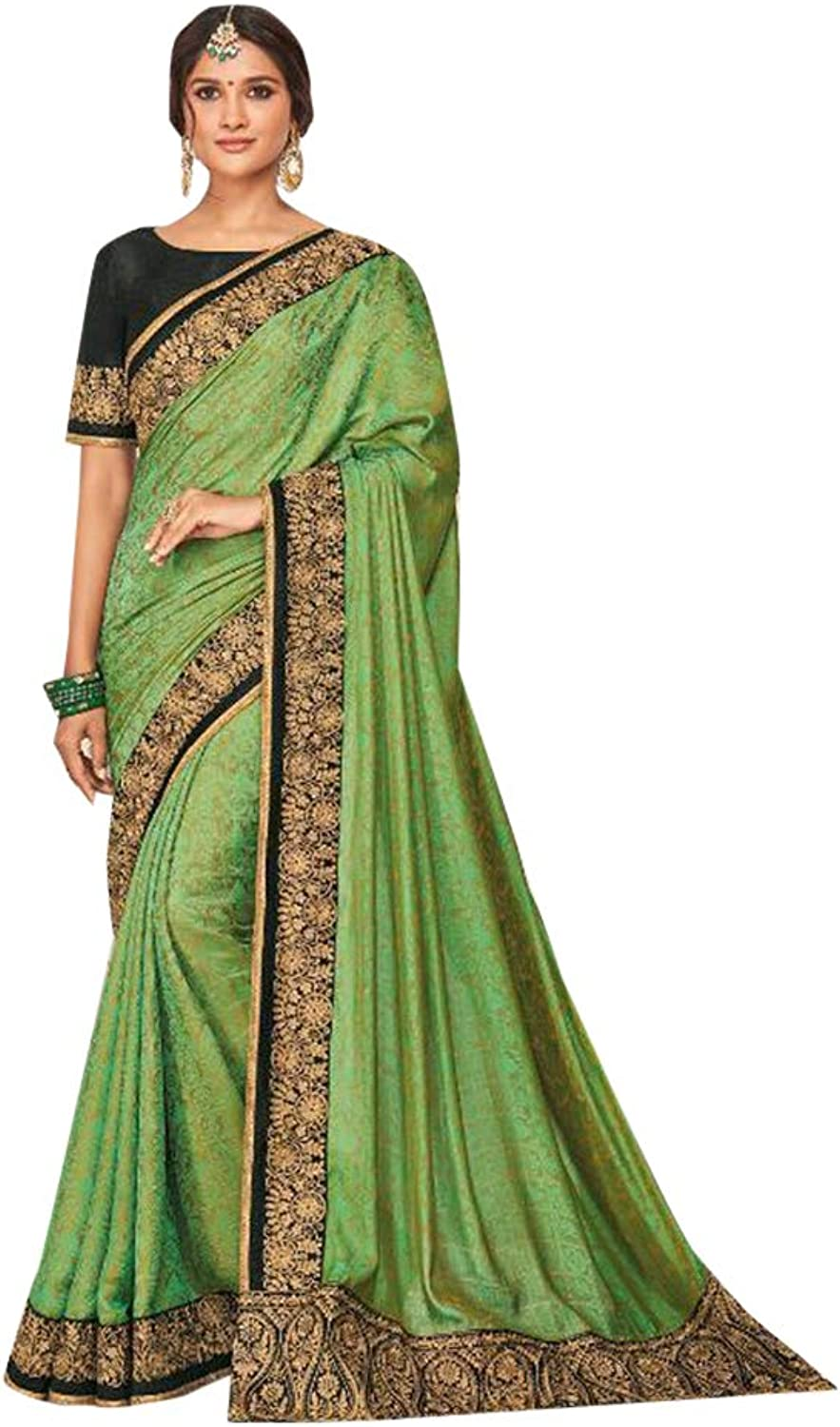 Green Royal Saree Blouse Light Weight Party Wear Sari 7496