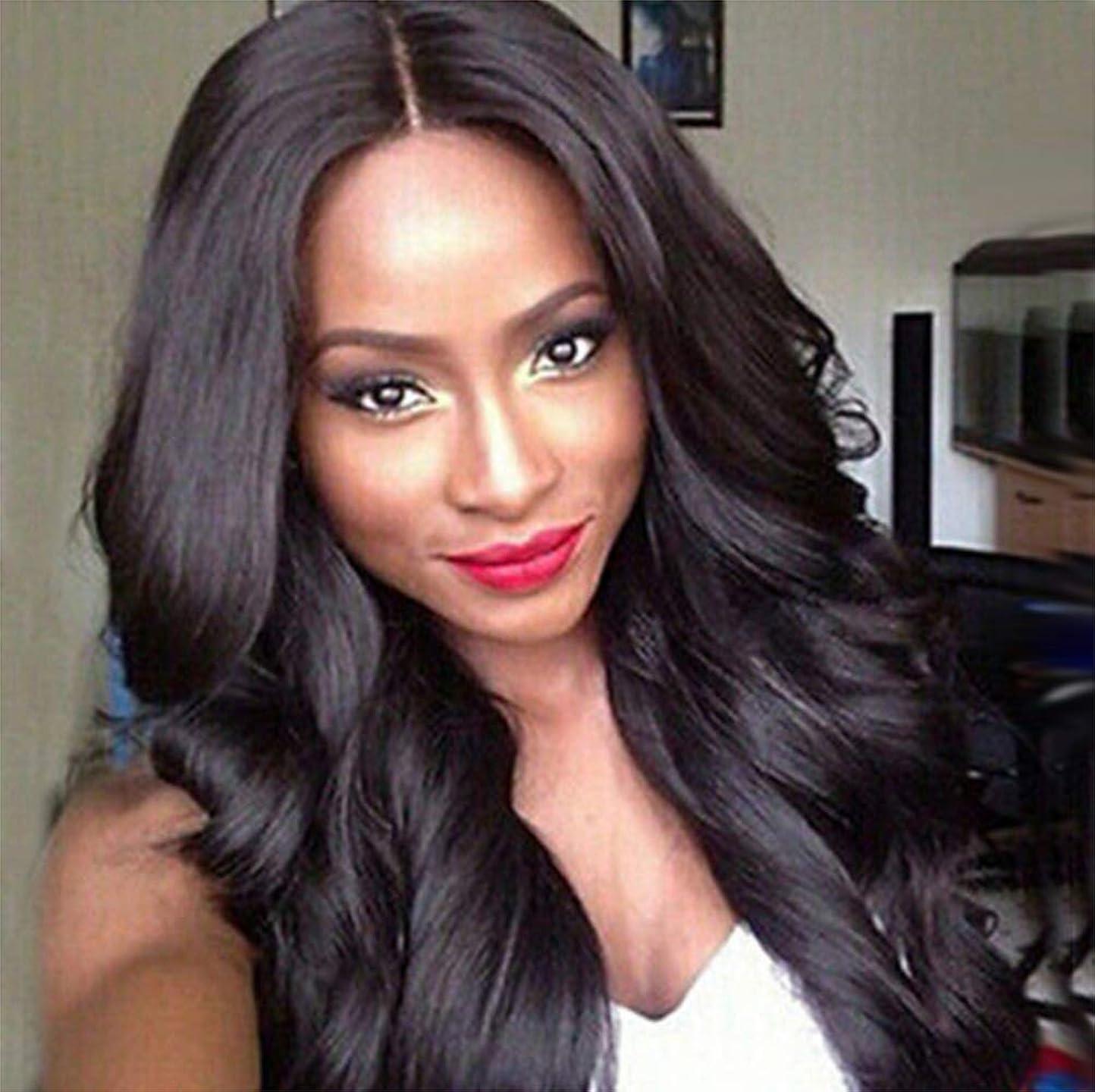 敬市場医療過誤女性のための合成かつら長い巻き毛のかつら抵抗のコスプレパーティー黒70 cm