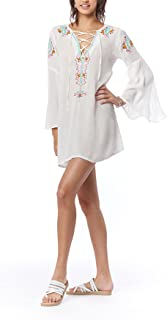 Lagaci Women's Cover up Long Sleeve Tunic Beach Dress