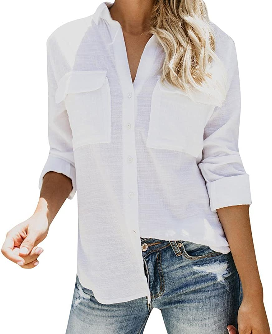 NREALY Women's Cotton Linen Casual Solid Long Sleeve Shirt Blouse Button Down Tops