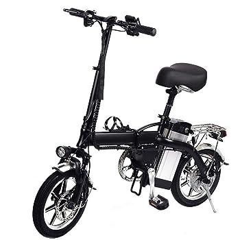 Ardorman Bicicleta de montaña eléctrica, Bicicleta eléctrica Plegable de 14 Pulgadas, Bicicleta de cercanías portátil con Motor de Alta Velocidad de 350 vatios (Plegable, Dos Ruedas, Negro): Amazon.es: Hogar