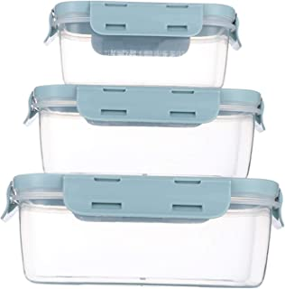 Food Storage Containers with Lids - Plastic Rectangular Food Containers with Lids - Lunch Containers with Lids - Meal Prep Containers -Leak Proof, Microwave & Dishwasher, Stackable, Reusable (blue)