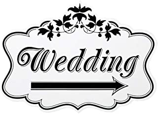 R STAR Wooden Wedding Directional Road Signs, Yard Sign Outdoor Lawn Decorations, 14 x 10 inches (Signs A)