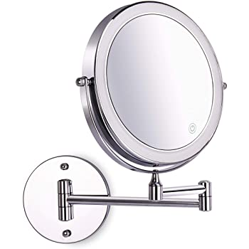 8 Inch Wall Mounted Makeup Mirror Adjustable LED Light Touch Screen 1X/10X Magnifying Two Sided 360° Swivel Extendable Vanity Mirror for Bathroom Chrome Finished Powered by Batteries