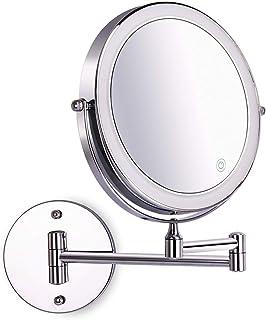 آینه آینه ای دیواری 8 اینچی قابل تنظیم صفحه نمایش لمسی LED سبک 1X / 10X بزرگ نمایی دو طرفه 360 درجه قابل چرخش آینه قابل جابجایی برای حمام کروم ساخته شده توسط باتری