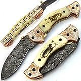 Fait main couteau à lame en acier damas forgée à la main avec fourreau poignée de...
