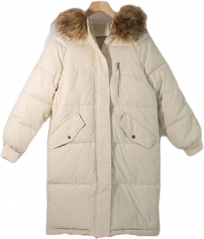 Winter Spring Women Long Jacket Quilted Office Puffer Parkas Hooded Warm Oversize Coat Beige XL