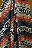 Galaxy Reborn Mexican Blanket Handwoven 82 x 54 XLarge Heavyweight Premium Mexican Falsa in Tan Rust Brown Bohemian Throw Blanket Southwestern Yoga Handmade Serape Tribal Rug