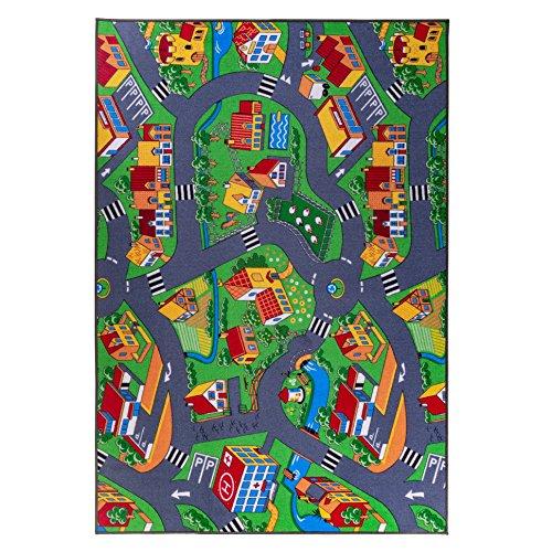 Kinderteppich, Straßenteppich, Spielteppich, Grau Grün! (200cmx250cm)