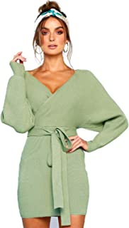 Women's Sexy Deep V Neck Backless Long Sleeve Wrap Bodycon Pencil Mini Sweater Dresses with Belt