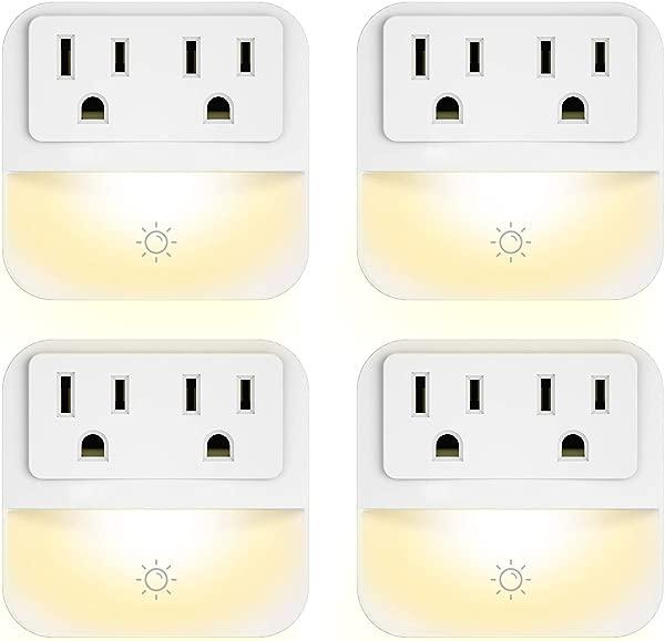 插入式夜灯,带 2 个插座扩展器 POWRUI 暖白色 LED 夜灯,带黄昏到黎明传感器,适用于卧室浴室厨房走廊楼梯 4 个装