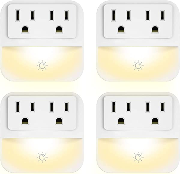 Plug In Night Light With 2 Outlet Extender POWRUI Warm White LED Nightlight With Dusk To Dawn Sensor For Bedroom Bathroom Kitchen Hallway Stairs 4 Pack