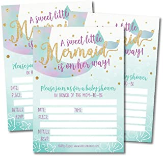 25 Mermaid Baby Shower Invitations, Sprinkle Invite for Girl, Under The Sea Nautical On Her Way, Cute Printed Fill or Write in Blank Printable Card, Unique Modern Coed Twin Party Paper Supplies