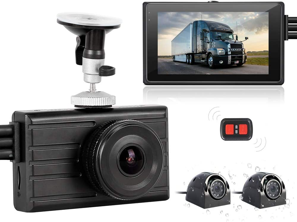 VSYSTO 3CH Dash Cam Record Camera Recording Backup DVR Front 1080P Side & Rear VGA View Blind Spot for Semi Trailer Truck Van Tractor Car Vehicle with Waterproof Lens 3