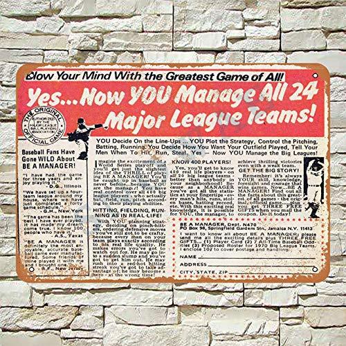 Snowae 1970 Be A Manager Baseball Game Metall Poster Wand rostfrei Aluminium wetterfest Dekor Home Wall Art Decor Retro Vintage Blechschild 30,5 x 20,3 cm