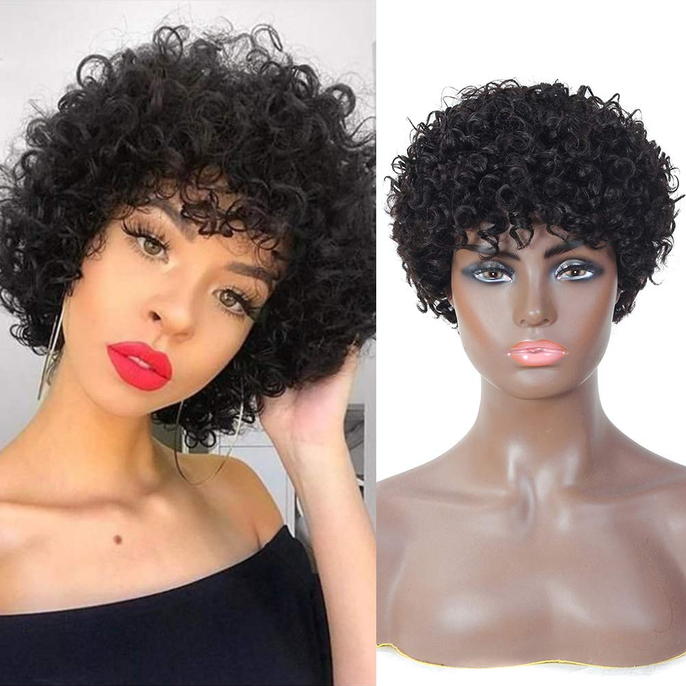 Short Curly Wig With Bangs Pixie Cut Wig for Women Natural Black Brazilian  Human Hair Wigs Short Afro Curly Hair Wigs New Year Gifts