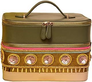 Trezo Women's Genuine Leather Embellished 2-tier Jewellery Organizer (Green)