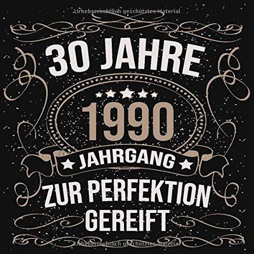 30 Jahre Jahrgang 1990 zur Perfektion gereift: Geschenk zum 30. Geburtstag Geschenk Geburtstagsparty Gästebuch Eintragen von Wünschen / Design: Luftschlangen Schwarz Gold