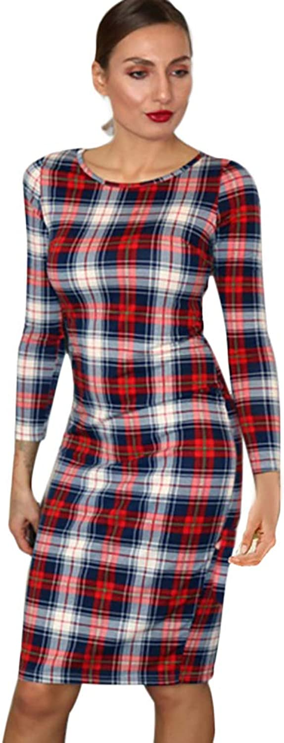 Honwenle Women Round Neck Plaid Long Sleeve Christmas Bodycon Dress