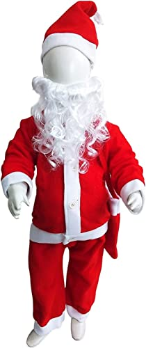 BookMyCostume Santa Claus with Beard Complete Set Christmas Kids Adults Fancy Dress Costume Premium 6 7 Years