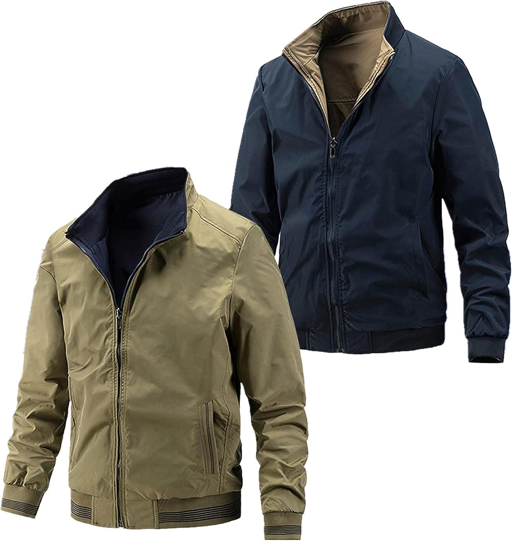 Huangse Mens Baseball Jacket On Both Sides Long Sleeve Full Zip Jacket with Pockets Slim Fit Autum Coat