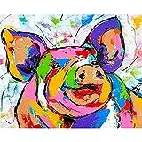 ZXDA Pittura Fai-da-Te con Numeri per Adulti Kit Animali Dipinti Vernice acrilica Colorare con Numeri Regalo Dipinto a Mano A18 40x50cm
