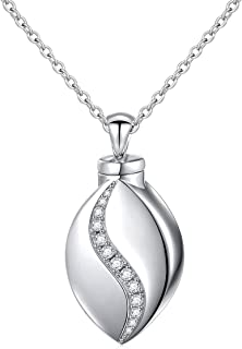 925 Sterling Silver Cremation Jewelry Forever in My Heart Ashes Keepsake Urns Pendant Necklace for Women, 20 Inch Rolo Chain