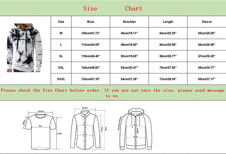 Qsctys Mens Tie-Dye Pullover Hooded Sweatshirt Lightweight Slim Fit Long Sleeve Hoodie Comfortable Shirts Coat